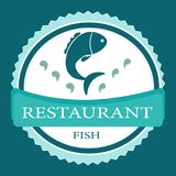 Vector logo banner for advertising restaurant name blue. Turquoise color with fish and text inscription Royalty Free Stock Photography