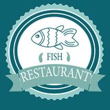 Vector logo banner for advertising restaurant name blue. Turquoise color with fish and text inscription Stock Photography