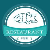 Vector logo banner for advertising restaurant name blue. Turquoise color with fish and text inscription Royalty Free Stock Images