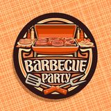 Vector logo for Barbecue Party. Dark round sticker with roasted frankfurters, fresh tomato, juicy beefsteak, chicken legs and carving fork, original typeface vector illustration