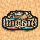 Vector logo for Barbershop. Black signboard with professional beauty accessories, original brush typeface for word barbershop, elegant signage for barber shop royalty free illustration