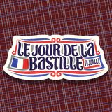Vector logo for Bastille Day in France. Cut paper sign for patriotic holiday of france with french national flag and date 14 juillet, original brush typeface Vector Illustration