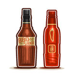 Vector logo BBQ and Chilli Sauce Bottles Royalty Free Stock Photography