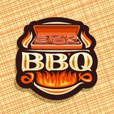 Vector logo for BBQ. Dark decorative icon with roasted frankfurters, fresh tomatoes, juicy beefsteak and chicken legs, original typeface for word bbq stock illustration