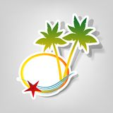 Vector logo on a beach theme. Composition with starfish and palm trees Stock Photo