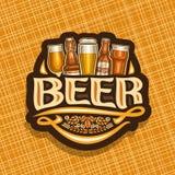 Vector logo for Beer. Dark sign with pint glasses of draft czech pilsner and bottles of craft german lager, original typeface for word beer, vintage coaster vector illustration