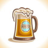 Vector logo for beer mug. Consisting of glass mug with handle, filled to brim light lager beer with froth. On pint with alcohol drink label oktoberfest on Stock Photography