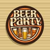 Vector logo for Beer Party. Dark round sign with pint glasses of draft czech pilsner and bottles of craft german lager, original brush typeface for words beer vector illustration