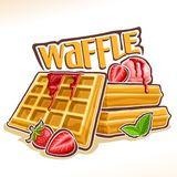 Vector logo for belgian Waffle. Poster with homemade pastry decorated strawberry jam and mint leaf, original font for word waffle, illustration of heap square Stock Photo