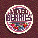 Vector logo for Berries. Round sign with ripe raspberry, healthy blueberry, red gooseberry, fresh strawberry, cherry berry and blackberry, veg mix label with Stock Image
