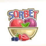 Vector logo for Berry Sorbet. Red strawberry & purple blueberry sherbet scoop ball in bowl, decorative font for word title sorbet, summer frozen ice cream Royalty Free Stock Photos