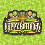 Vector logo for Birthday holiday. 10 burning candles on celebrate cake, original font for greeting title text happy birthday with soap bubbles and confetti Stock Photography