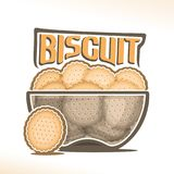 Vector logo for Biscuit. Transparent bowl with pile of round crunchy crackers with holes, original typography font for yellow word biscuit, poster with heap of Royalty Free Stock Photo
