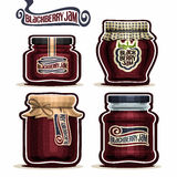 Vector logo Blackberry Jam in glass Jars