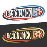 Vector logo for Blackjack gamble. Playing cards and handwritten word - blackjack on black, curved lines around casino chip and original font for text stock illustration