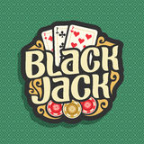 Vector logo Blackjack. Playing cards combination three 7 for gambling game black jack, casino chips, curly gamble icon on green seamless pattern background vector illustration