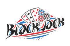 Vector logo for Blackjack. Creative illustration of three sevens of different suits, original decorative brush typeface for word blackjack, simplistic gambling stock illustration