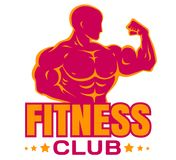 Vector logo for bodybuilding. Emblem with bodybuilder for fitness club royalty free illustration
