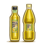 Vector logo Bottles Rice Bran Oil. Vector logo 2 yellow plastic and glass Bottle with pure Rice Bran Oil and label, bottles refined virgin cooking oil, cartoon Stock Photo