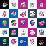 Vector logo box with gifts. Abstract vector logo box with gifts. Design element Stock Images