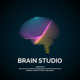 Vector logo brain color silhouette Royalty Free Stock Images