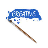 Vector logo brush and blue paint Royalty Free Stock Photography