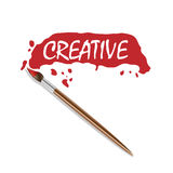 Vector logo brush and red paint Royalty Free Stock Image