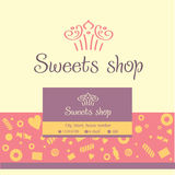 Vector logo, business card for a candy store Royalty Free Stock Photo