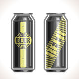 Vector logo for can beer. Consisting of 2  aluminum metal black cans,filled to brim light lager pilsner and dark Porter beer on white background. On container Stock Photos