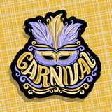 Vector logo for Carnival. Poster with brazilian feather headdress and blue venetian masquerade mask, original font for golden word title carnival, sign for Stock Photo