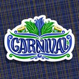Vector logo for Carnival. Poster with brazilian feather headdress, drums with sticks for samba parade, original font for blue word title carnival, sign for Royalty Free Stock Image