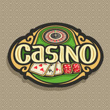 Vector logo for Casino club on brown background. Roulette wheel on green table, lettering title - casino, combination of playing cards 3 seven for blackjack, 2 Stock Images