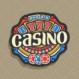 Vector logo for Casino. Gambling sign with roulette wheel, playing cards, blue dice craps, lettering title - casino, gaming chips and red lucky symbol - 777 on royalty free illustration