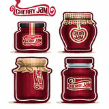 Vector logo Cherry Jam in glass Jars. With paper lid cover, red Pot home made cherry berry jams, twine rope bow, homemade fruit jam jar, jelly pot with label Royalty Free Stock Image