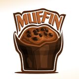 Vector logo for Chocolate Muffin. Original font for word muffin, poster with fresh baked goods for morning breakfast, illustration of small muffin with Royalty Free Stock Photography