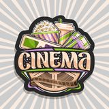 Vector logo for Cinema. Black decorative label with green & purple 3d glasses, cardboard cup with popcorn, cola and two admission cinema ticket, brush stock illustration
