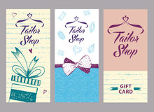 Vector logo on color background for salon tailoring. Illustratio. N for tailor shop with stylized heart and hanger. Style gift card Stock Image