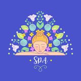 Vector logo with color hand drawn flower for ecology therapy cen Royalty Free Stock Photos