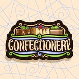 Vector logo for Confectionery. Black signboard with chocolate brownie, slice of cheesecake covered glaze and fresh berry, cocoa dessert with mint cream vector illustration