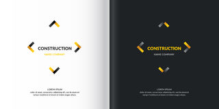 Vector Logo Construction. Logo Construction. Vector elements for cards, illustration and poster and web design on wnite and black background Stock Photos