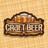 Vector logo for Craft Beer. Dark signage with pint glasses of draft czech pilsner and mug of craft german lager, original brush typeface for words craft beer stock illustration