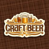 Vector logo for Craft Beer. White signage with pint glasses of draft czech pilsner and mug of craft german lager, original brush typeface for words craft beer stock illustration