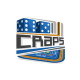 Vector logo for Craps gamble. Pair blue dice cubes with combination five and six, inscription title text - craps, abstract icon with playing table for gambling Royalty Free Stock Images
