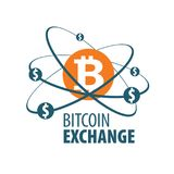 Exchange bitcoin for money. Vector logo of cryptocurrency. Exchange bitcoin for money. Remittance royalty free stock images