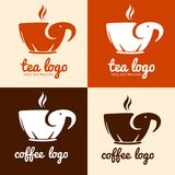 Vector logo of cup mug shaped elephant silhouette for coffee tea cafe. Royalty Free Stock Photos