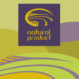 Vector logo depicting the landscape, field, road. Green and purple background.Natural product Stock Photography