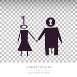 Vector logo design. Abstract Creative concept vector unusual lovely couple silhouette of a man and a woman isolated on white background. For Web and Mobile Stock Photo