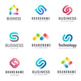 Vector logo design for business. S letter sign. Technology Stock Photography