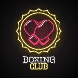 Vector logo, design element for boxing club with neon lights sign. Design element can be used as sticker or poster with boxing gloves Royalty Free Stock Image