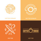 Vector logo design element with icons in trendy linear icons Stock Photo